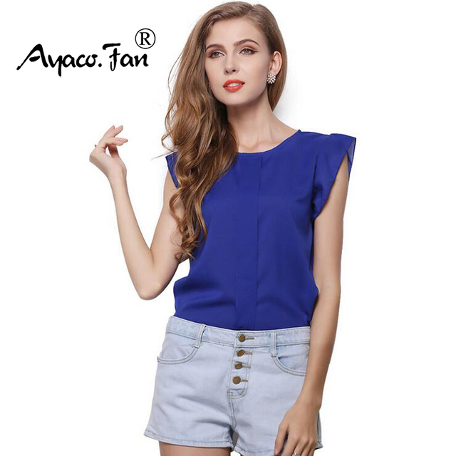 f921906f604 US $3.04 5% OFF|Hot Women Chiffon Blouses Summer Shirts O neck Ruffled  Pleated Sleeve Strap Solid Tops Blouses Casual Ladies Solid Shirt Blusas-in  ...