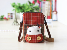 korean style simple fresh cartoon plaid women Coin Purses handle phone coin purse canvas lovely cute mori girl women purse