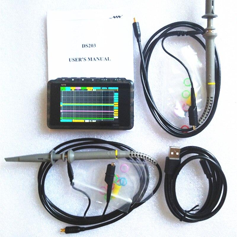 Mini DSO203 Digital Oscilloscope LCD USB ARM Nano V2 Quad Portable Osciloscopio 8MHz 4Channel Osciloscop Plastic Case DS203