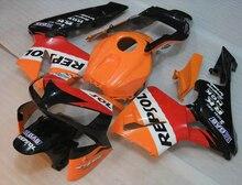 100%, пригодный для Honda для литья под давлением обтекатели CBR600RR 03 04 оранжевый черный мотоциклов обтекателя комплект CBR 600RR 2003 2004 LY32