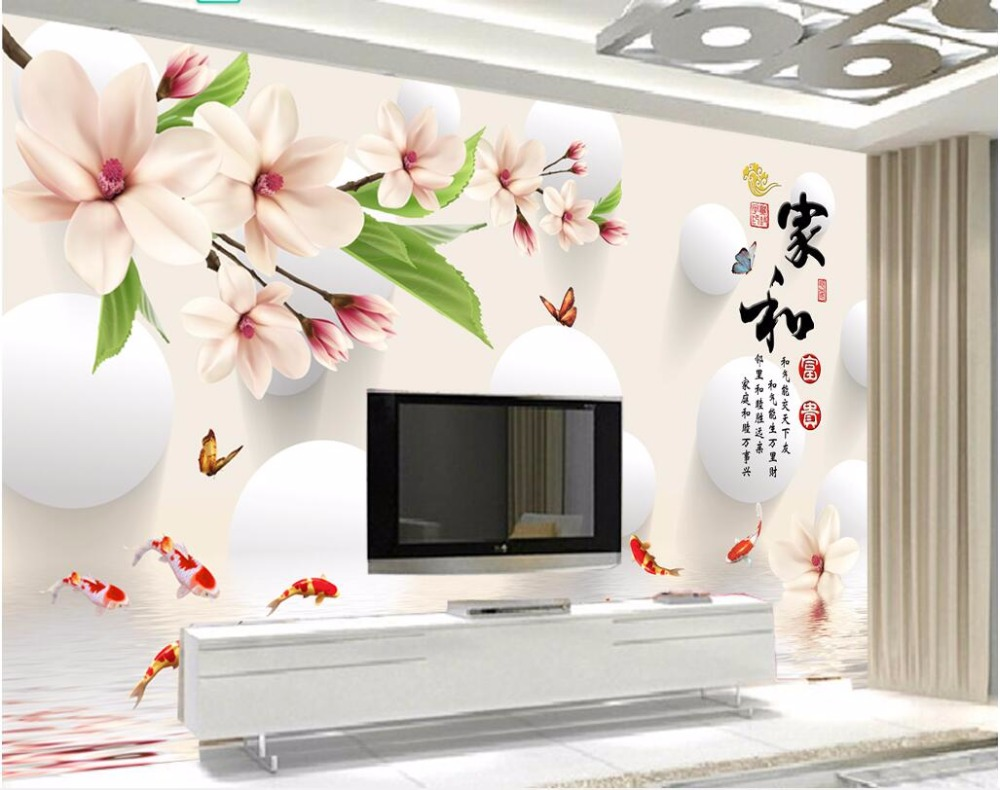 Custom mural 3d photo wallpaper Jade orchid carp butterfly home decor living room 3d wall murals wallpaper for wall 3 d custom 3d mural wallpaper european style painting stereoscopic relief jade living room tv backdrop bedroom photo wall paper 3d