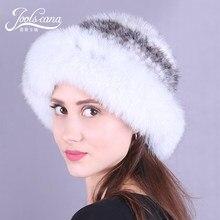 Joolscana women cap winter hats for women hats wide brim fur hat beanie real mink and fox fur caps elegant beanie russia 2017new