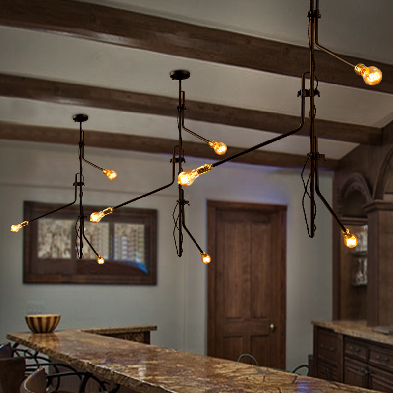 ФОТО Art Deco Iron Pendant Lights Creative Design Pendant Lamps for Dining Room Bar with The Base Type of  E27