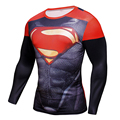 2016 Superman Batman Ironman Spiderman Capitán América Avengers Marvel Comics Superhéroe Traje de Soldado Para Hombre Estilo Largo camiseta