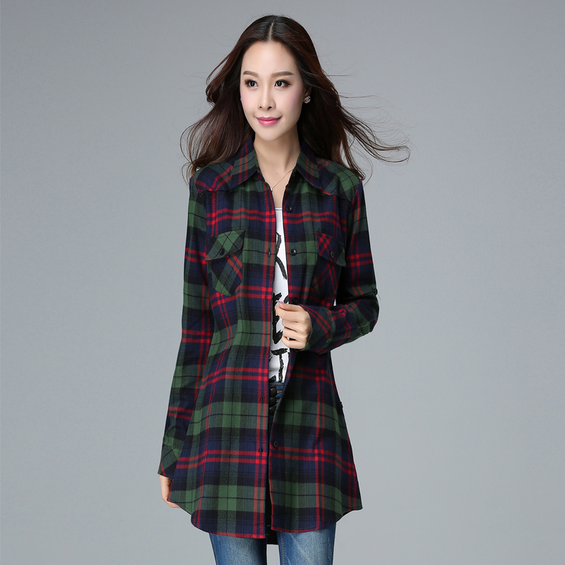 2018 Flannel Plaid Shirt Women Cotton Tops Red Plaid Shirt -1482