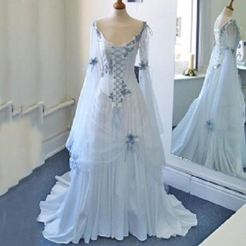 Старинный кельтский торжественные платья белый и голубой красочные средневековой Свадебные платья Scoop декольте корсет длинные расклешенн...