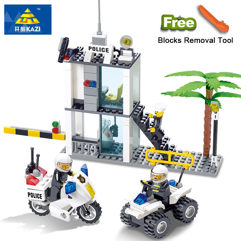 KAZI 6728 Police Series Building Blocks Compatible Legos City DIY Police Command Center Enlighten Bricks Block Sets For Children плита tesler pe 10 white