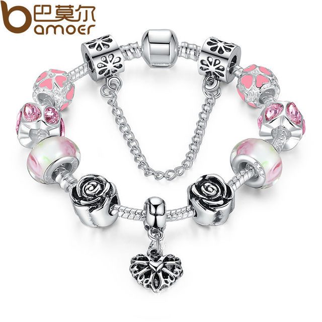 Bamoer 4colors Original Silver Pink Heart Charm Bracelet With Safety Chain For Women Authentic Jewelry Pa1452