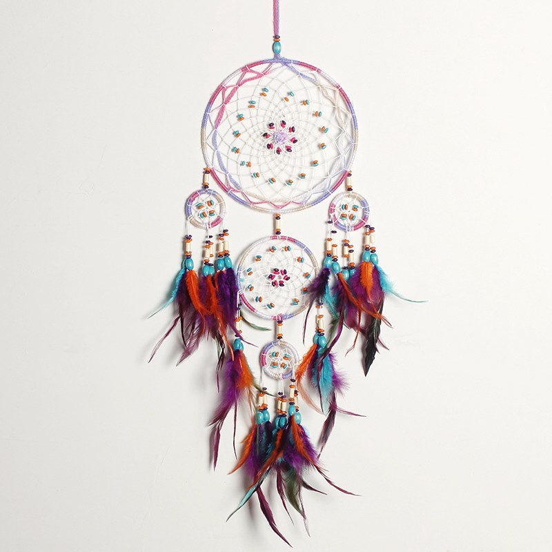Handmade Fashion Design 4 Circle Dream Catcher with feather wall hanging Decor Room Craft ornament dreamcatcher Christmas Gifts