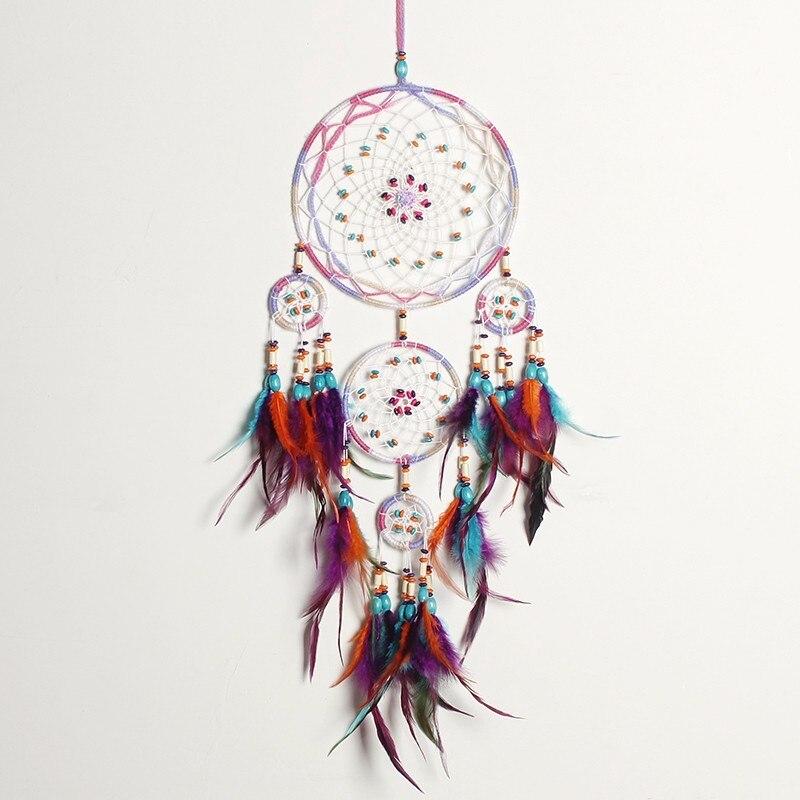 Handmade Fashion Design 4 Kreis Traumfänger mit feder wand hängen Dekor Zimmer Handwerk ornament dreamcatcher Weihnachtsgeschenke