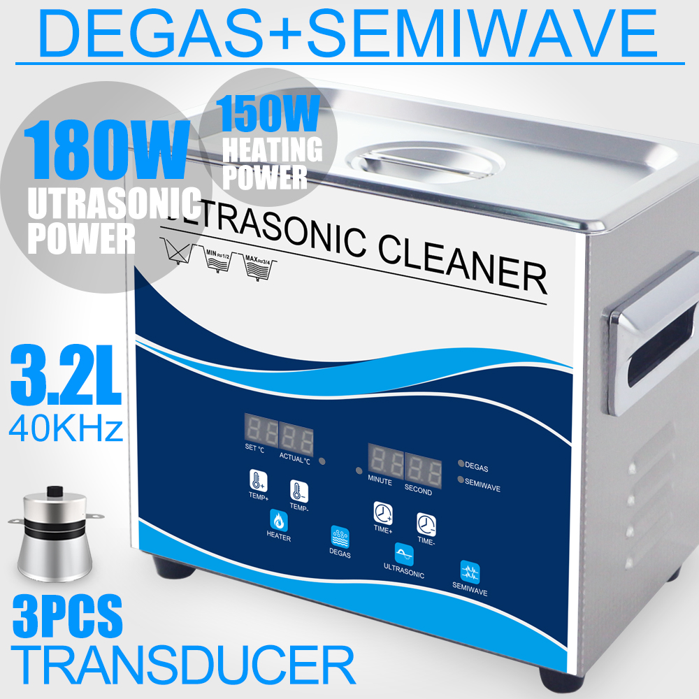 Aquecedor De Banho Degas Ultra-sônica 180 W Inoxidável 3.2L Ultrasound máquina de Lavar para a Jóia do Brinco Pistão Laboratório De Limpeza da Placa de Circuito