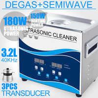 Nettoyeur à ultrasons 180 W 3.2L en acier inoxydable chauffe-bain Degas nettoyeur à ultrasons pour boucle d'oreille bijoux Circuit imprimé Piston laboratoire nettoyage