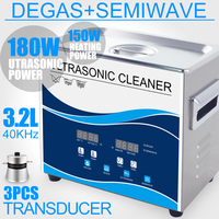 Ultrasonic Cleaner 180W 3.2L Stainless Bath Heater Degas Ultrasound Washer for Earring Jewelry Circuit Board Piston Lab Cleaning
