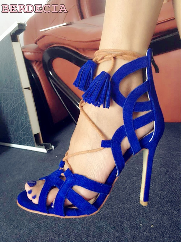 hot selling open toe stiletto heel sandals Royal blue suede leather summer sandals sexy lace up hollow out shoes woman sandals new 2017 hot selling fashion women luxury sexy black gladiator cuts out open toe lace up back 100 mm phaedra peacock sandals