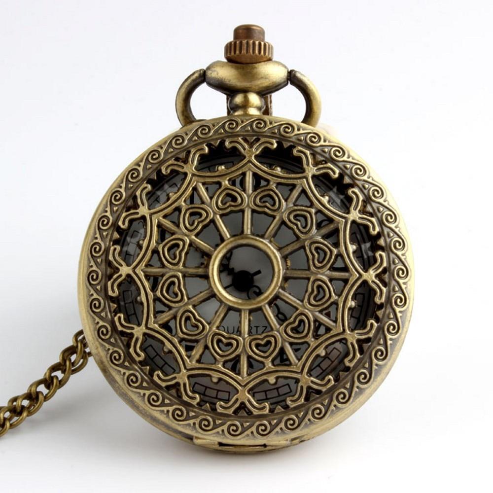 Brązowy Pająk Web Hollow Naszyjnik Mężczyzna Vintage Zegarek - Zegarki kieszonkowe - Zdjęcie 5