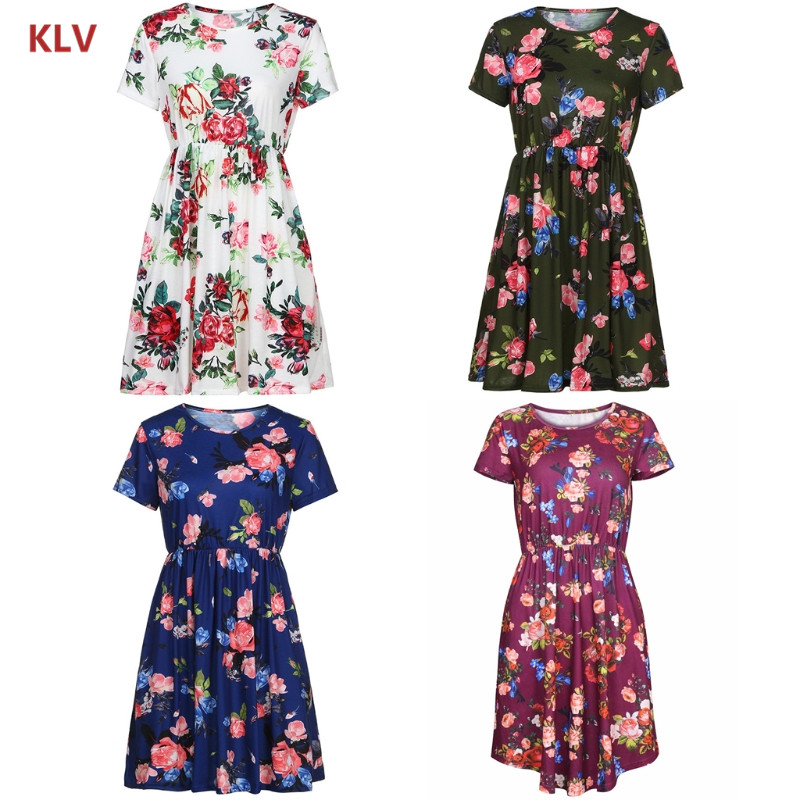 KLV Women Floral Short Sleeve Tunic Vintage Midi Casual Dress With Pockets New