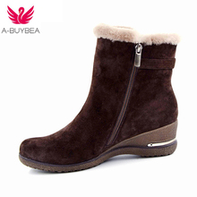 2018 New sheep suede ankle boots fashion square toe Wedges heel women boots high heel genuine leather ladies boots ankle boots недорого