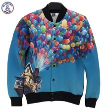 2017 Mr.1991INC New Arrivals men/women 3d jacket uniform Memory Foam jacket funny print house balloons autumn coat