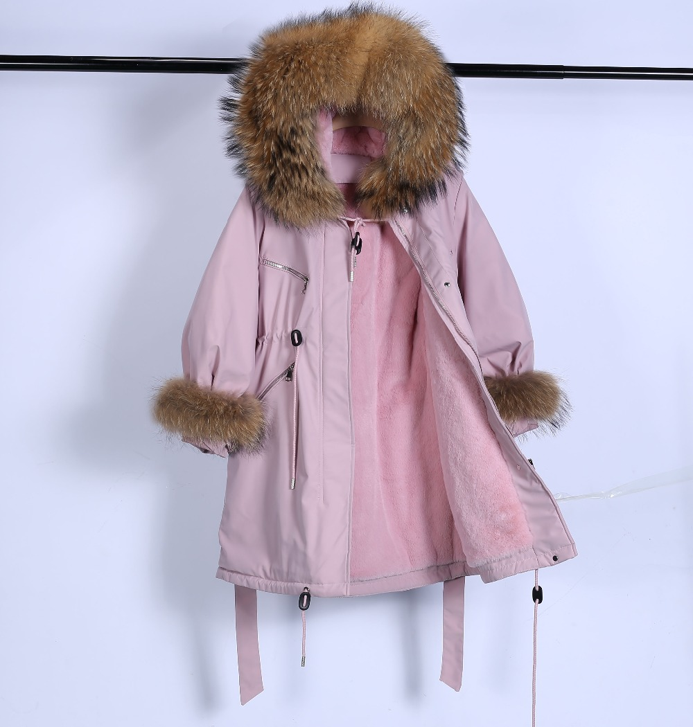 Large Natural Raccoon Fur Winter Jacket Women Hooded 19 Long Parkas For Female Thick Slim Down Winter Coat Women Waterproof 19