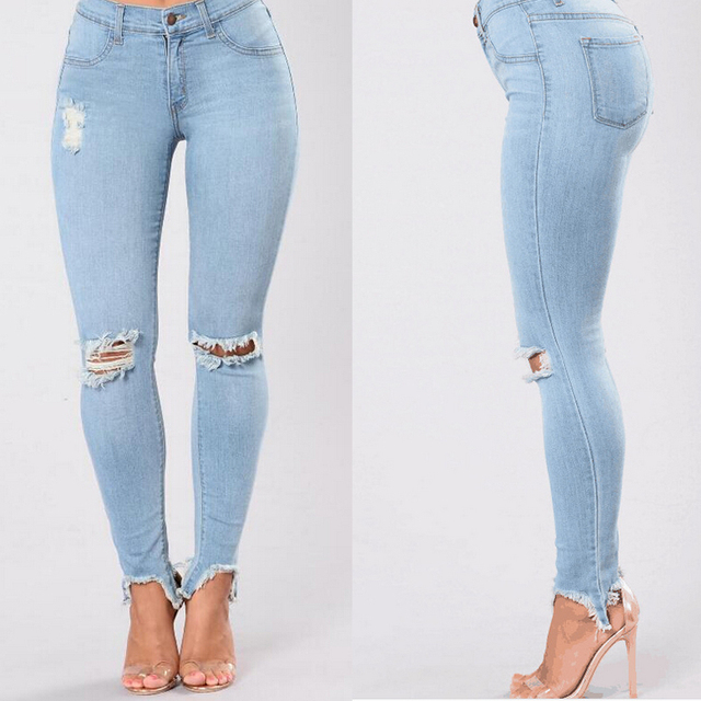 Woman Denim Ripped Destroyed Jeans Stretch Sexy Ladies Skinny Slim Demin Pants Trousers