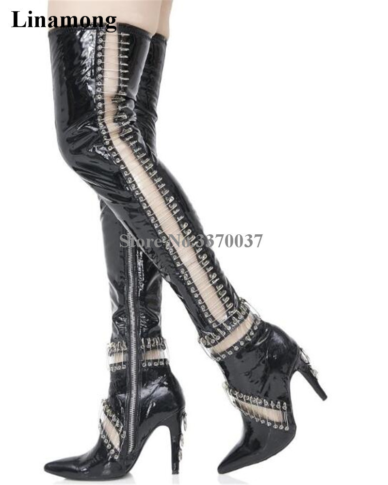 Newest Women Fashion Pointed Toe Black Patent Leather Pin Over Knee Gladiator Boots Cut-out Thigh High Heel Boots Dress Shoes cut out knee leggings