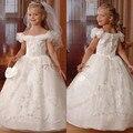 2016 Nueva Puffy Blanco/de Marfil del vestido de Bola Beads Escarpada Del Cordón Vestidos de Niña Para La Boda kid niños santos primeros vestidos de comunión