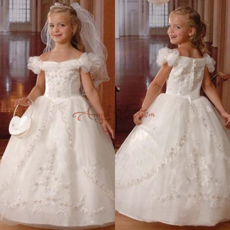 2018 New Puffy White/Ivory Ball Gown Beads Sheer Lace Flower Girl Dresses For Wedding kid children holy first communion dresses new white ivory flower girl dresses for wedding 3d flowers puffy tulle with big bow girls first communion gowns
