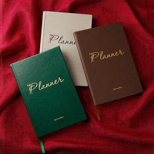Agendas 2019.6 2020 6 Planner Organizer A5 ไดอารี่โน้ตบุ๊คและวารสารวินเทจรายเดือนหมายเหตุ Vintage ตาราง