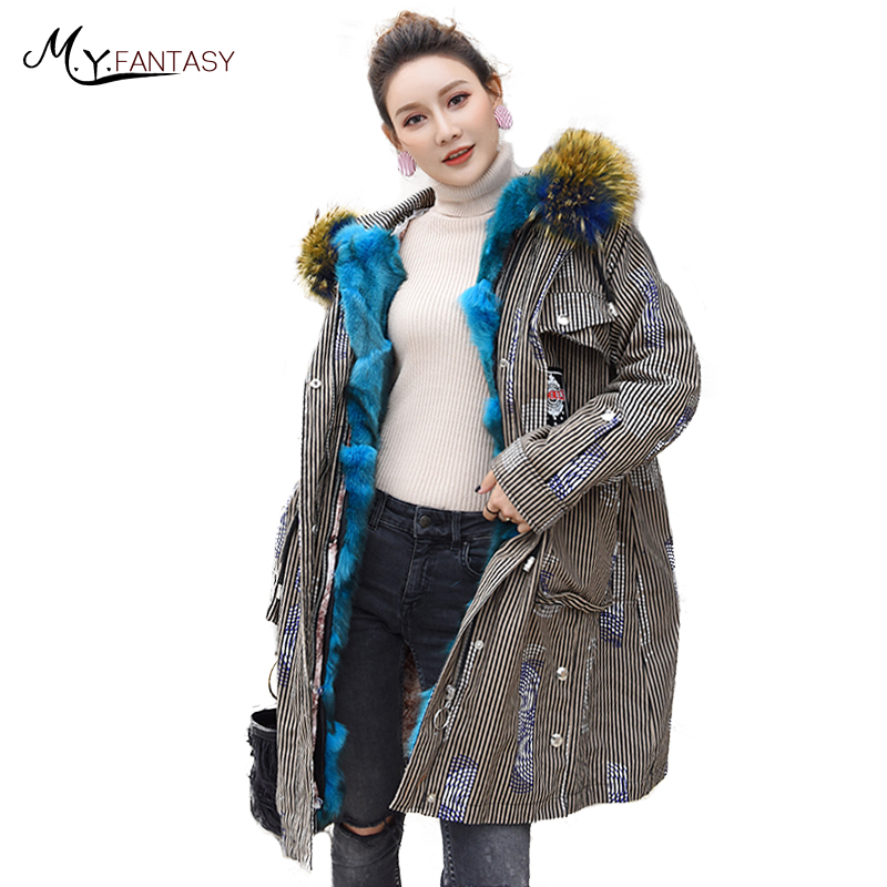 M.Y.FANSTY 2019 section of fur coat female down detachable liner PARKA Coat With Raccon Dog Fox Fur Collar Print PARKA Fur Coats