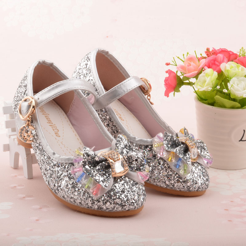 21dc247f13f 2017 Children Single Shoes Girls High Heels Hot Sale New Children Baby Pink  Gold SIlver shoes Student Leather Flower size 26 37-in Sandals from Mother  ...