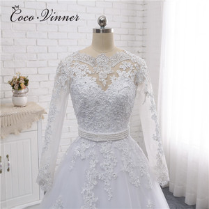 Image 4 - Boat Neck Beaded Sashes Vintage Wedding Dress 2020 Embroidery Appliques Pearls Crystal Beads Ball Gown Wedding Dresses W0007