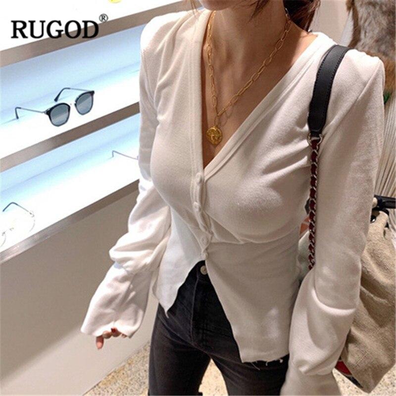 Féminin T Profonde Mode Blouse Rugod Slim V Shirts Femme Femmes Sexy Manches Blanc De Lady Office shirt Blouses Élégante Flare gBTwH