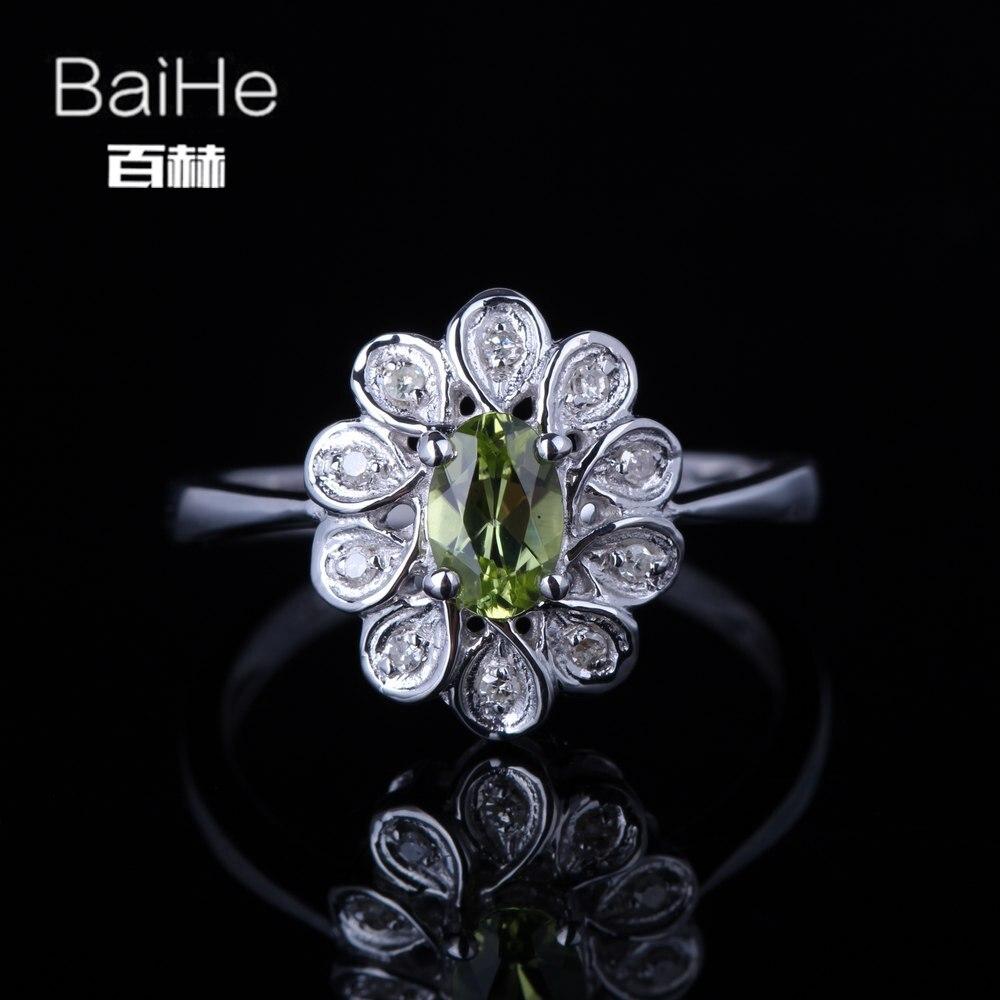 BAIHE solide 14 K or blanc (AU585) 0.405CT certifié vert/coupe ronde impeccable 100% véritable péridot mariage femmes anneau à la mode