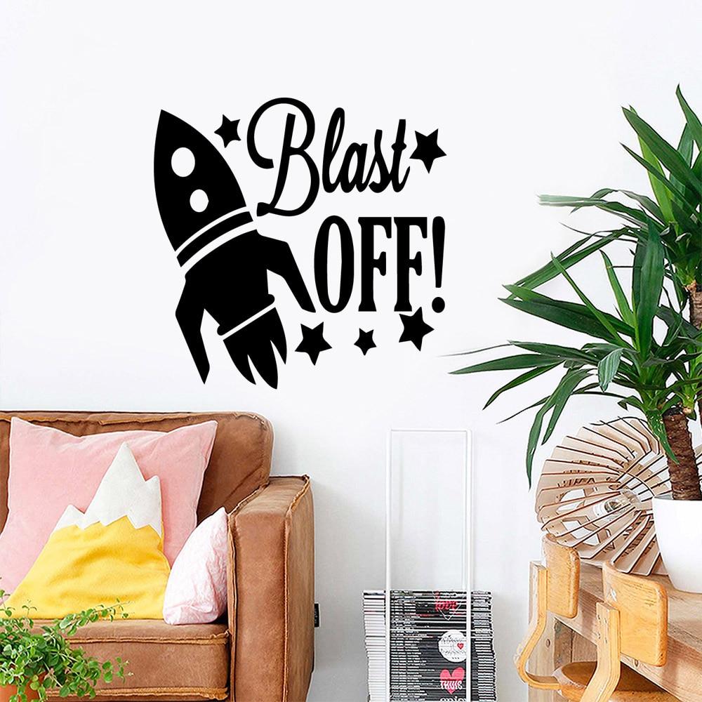 XL Rocket Blast  Modern Vinyl Wall Sticker For Kids Rooms Art Murals