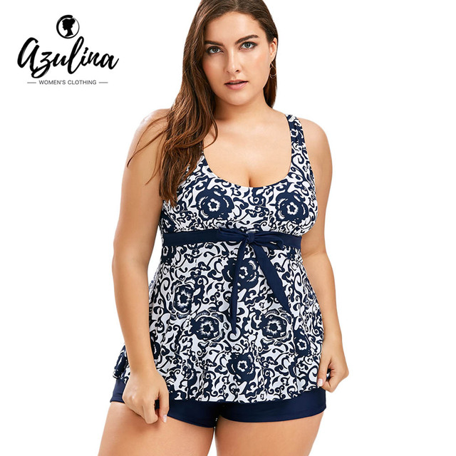 1469a5d5804 AZULINA Plus Size Printed Blouson Suit Summer Beach Women Set Bowknot Top  Bottoms Two Piece Sets Women s Clothing Bathing Suits
