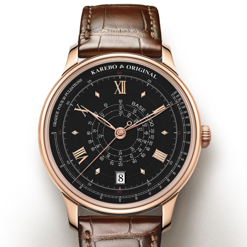 KAREBO Men LOGARITHM SCALE SPEED & HEART RATE Dial Mechanical watch With ETA2824 Automtatic Self-Wind Movement - Rosegold