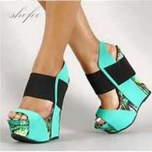 SHOFOO shoes,Sweet fashion free shipping, multicolored leather, 15 cm wedges sandals, women's sandals. SIZE:34-45