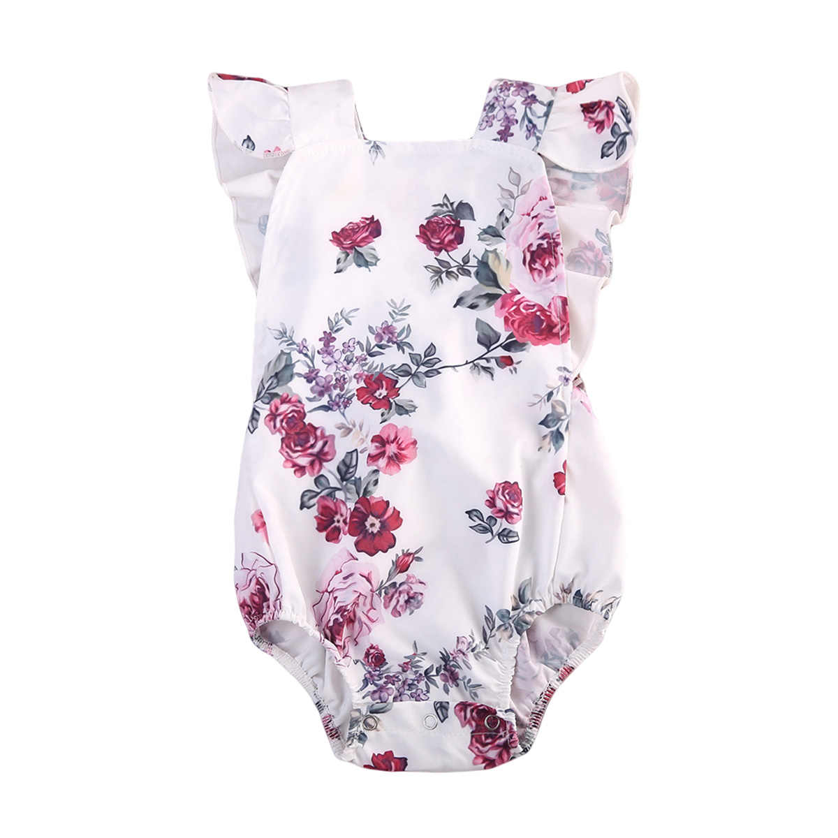 51ced6993 Adorable Toddler Baby Girl Clothes Floral Ruffles Romper One-pieces Clothes  Baby Clothing