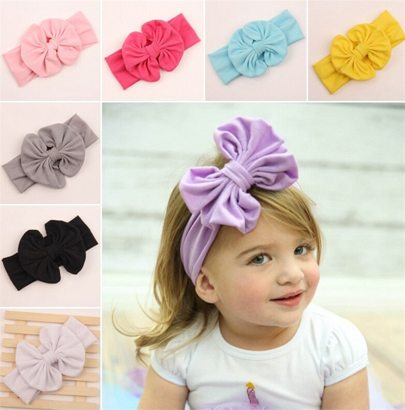 1pc cute Headband big Bow Headband Top Knot Headband Polka solid Cross Knot headwear Turban Tie Knot Headwrap Hair Accessories 2017 new fashionable cute soft black grey pink beige solid color rabbit ears bow knot turban hat hijab caps women gifts