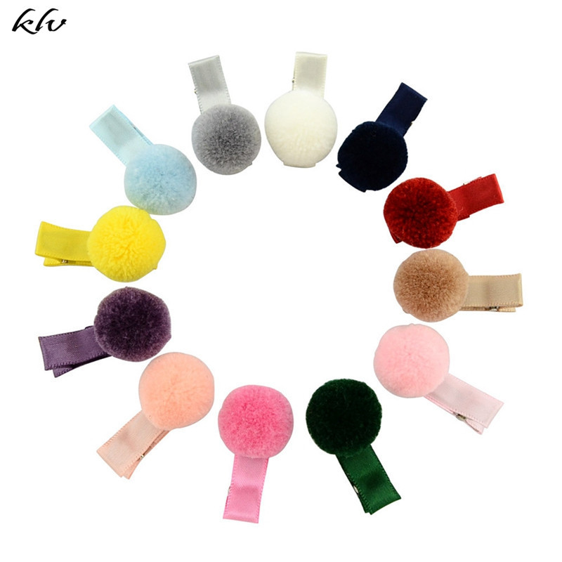 12 Pcs Korean Style Baby Girl Soft Fur Ball Hair Clip Handmade Barrettes Head Accessories New Lovely Gift For Baby Girls