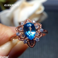 KJJEAXCMY Fine Jewelry Women S Wholesale Jewelry Color Jewelry 925 Silver Inlay Natural Topaz Ring