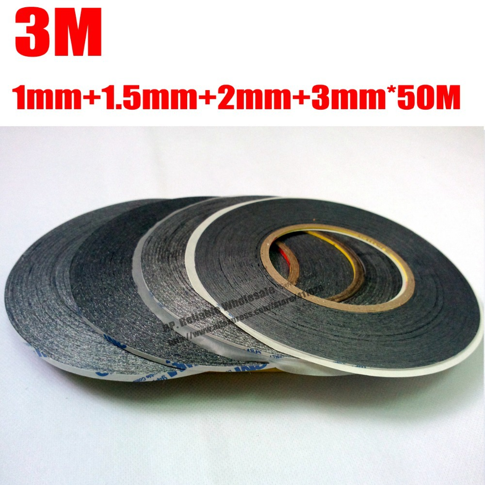 €550000 wijzer in geldzaken Mixed 4pcs (1mm 1.5mm 2mm 3mm) * 50M 3M Two Sides Sticky Black Tape