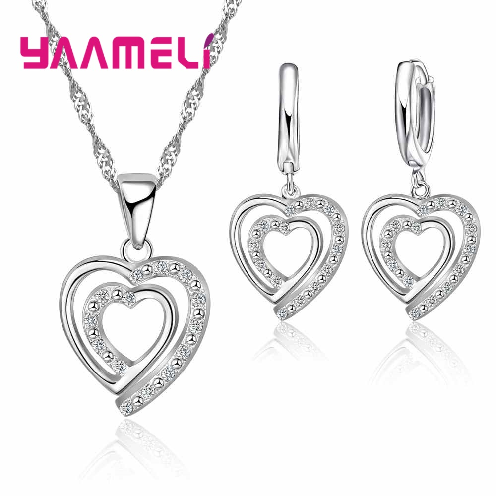 Cute Love Shape 925 Sterling Silver Necklace Earrings Sets Engagement Gift