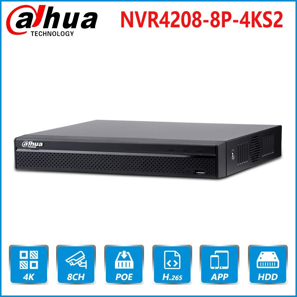 Dahua EU Stock NVR4208 8P 4KS2 8 canales 8PoE 4K y H.265 grabadora de vídeo de red 4K resolución para cámara IP CCTV de seguridad sistema-in Videograbadora de vigilancia from Seguridad y protección    1