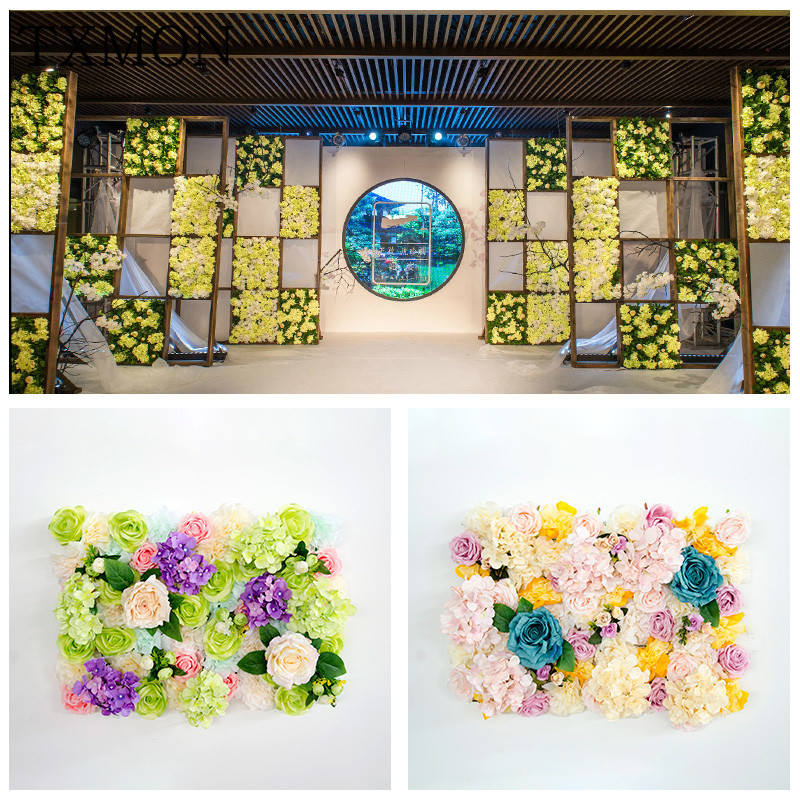 New wedding props artificial flower plant wall flower wall stage layout window photo studio background Christmas decoration
