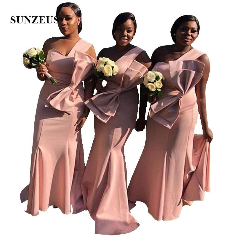 Satin rose femmes africaines demoiselles d'honneur robe sirène une épaule longues robes de mariée avec arc