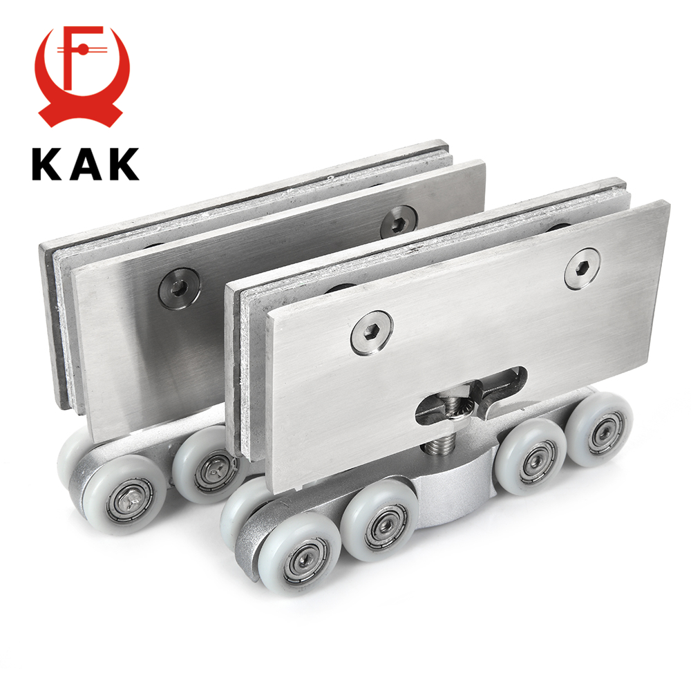 KAK acier inoxydable verre suspendus roues 100 KG verre porte coulissante rouleaux chambre salle de réunion armoire porte rouleau roues