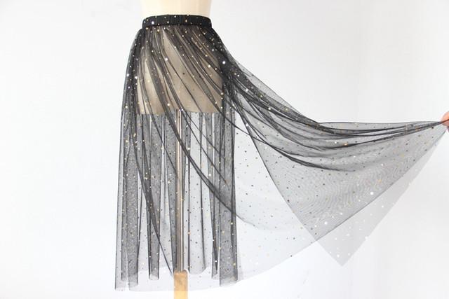 spring and autumn gauze half slip singler layer transparent medium long underskirt stars sequins petticoat Cover skirt