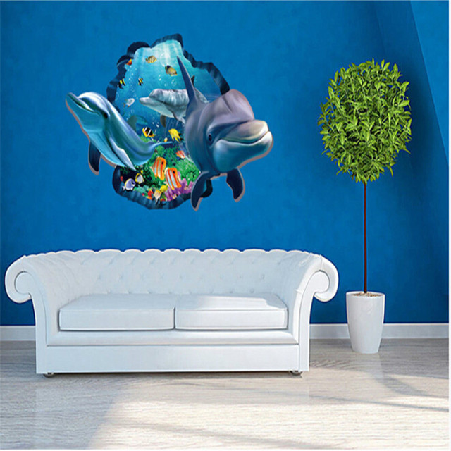 Creative Dolphins 3D Wall Stickers Underwater World For Sitting Room  Background Wall Posters Decoration Wall Decals