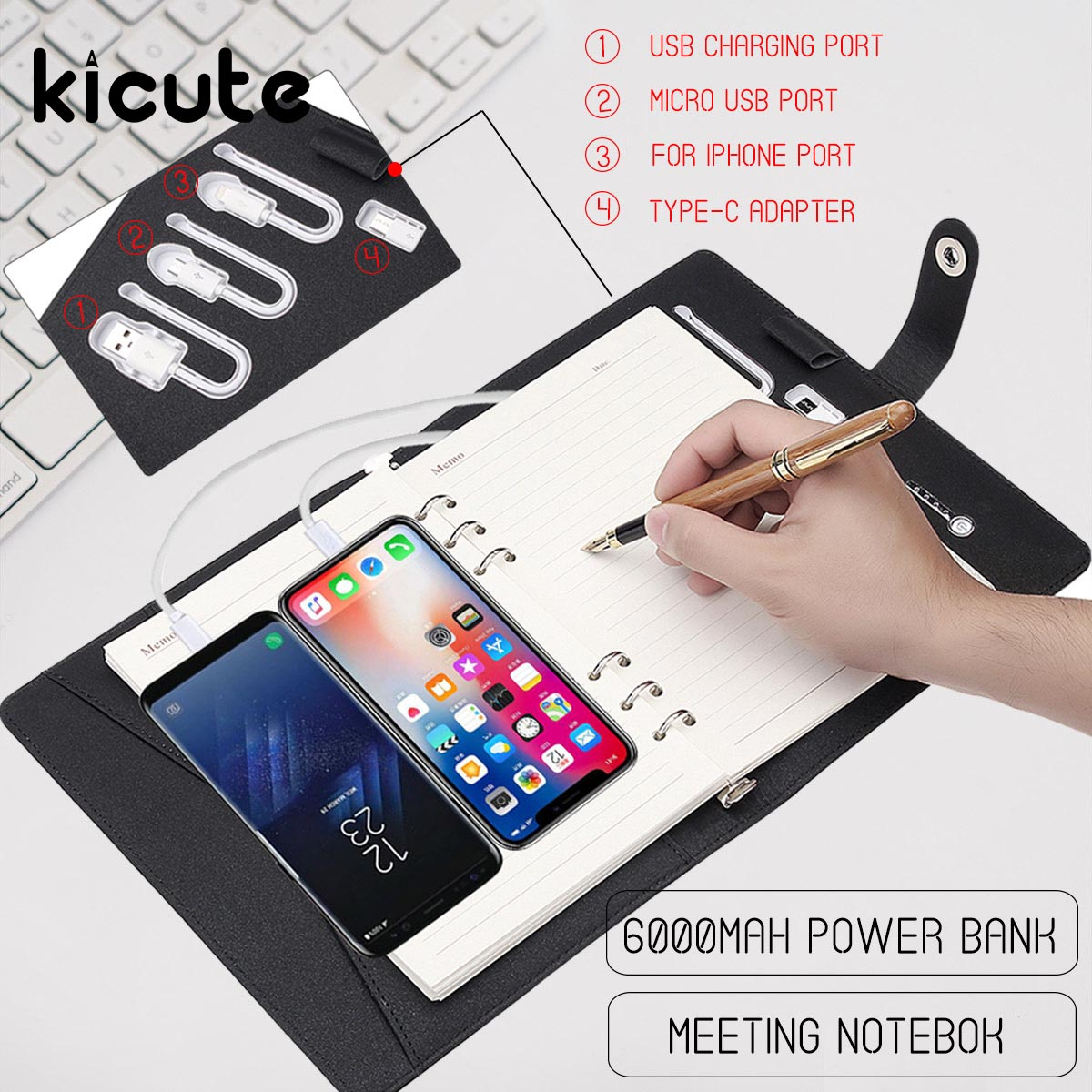цены Multi Functional Power Bank Notebook Notebook with 6000 mAh Power Bank Qi Wireless Charging Note Book Binder Spiral Diary Book